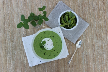 Minted Pea Soup with Poached Egg